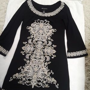 INC blk/Whte Embroidered Midi Dress Sm NWOT